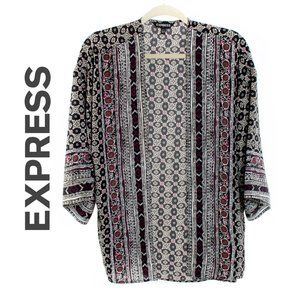 Express Black Print Open Front Kimono Top - EUC